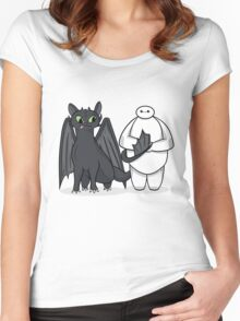 Toothless & Baymax Women's Fitted Scoop T-Shirt