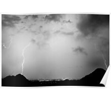 Lightning Rainbow Black and White Poster
