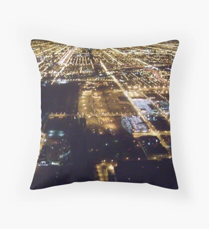 Nighttime Chicago Streets from Sears Tower Throw Pillow