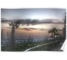 Sunset on the board walk Poster