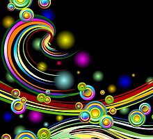 Rainbow Colors Abstract Swirls on Black by BluedarkArt