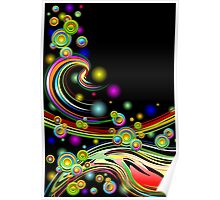 Rainbow Colors Abstract Swirls on Black Poster