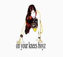 On your knees boyz..U2 line from Mysterious Ways. Womens Fitted T-Shirt