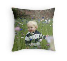 Freddie in the Cornflowers Throw Pillow