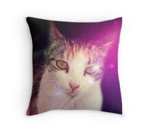 Psychic Cat in Multicolour Throw Pillow