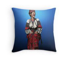 Woman in Hutsul Costume Throw Pillow