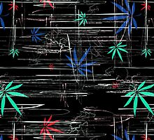 Colorful Marijuana Leaves and Scratches by NataliSven