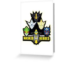 Elemental Changing Masked Heroes. Greeting Card