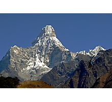 Ama Dablam and rescue helicopter above Namche Bazaar Photographic Print