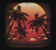 Warm Topical Sunset with Palm Trees Kids Clothes