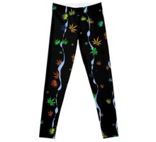Colorful Marijuana Leaves and Waves Leggings