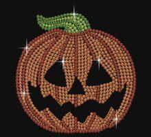 Pumpkin Printed Rhinestone Jackolantern Tshirt by littlegems