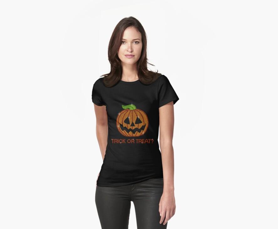 Pumpkin Printed Rhinestone Trick or Treat Jackolantern Tshirt by littlegems