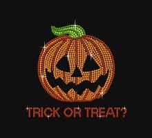 Pumpkin Printed Rhinestone Trick or Treat Jackolantern Tshirt Womens Fitted T-Shirt