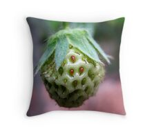 Unripe Strawberry Throw Pillow