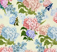 Vintage pink blue pretty hortensia flowers by Maria Fernandes