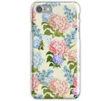 Vintage pink blue pretty hortensia flowers iPhone Case/Skin