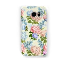 Vintage pink blue pretty hortensia flowers Samsung Galaxy Case/Skin
