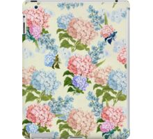 Vintage pink blue pretty hortensia flowers iPad Case/Skin
