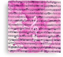 Vintage pink watercolor classical clef music sheet Canvas Print