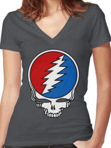 Grateful Dead Logo Women's Fitted V-Neck T-Shirt