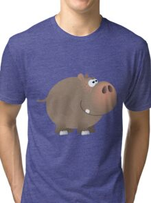 Smiling plump hippo Tri-blend T-Shirt