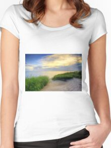 Grassy Beach Sunset Women's Fitted Scoop T-Shirt