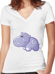 Funny blue hippo Women's Fitted V-Neck T-Shirt