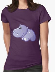 Funny blue hippo Womens Fitted T-Shirt