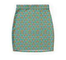 FRESH AQUAMARINE GREEN GEOMETRIC PATTERN  Mini Skirt