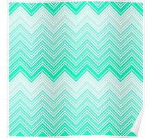 Trendy Aqua Teal Gradient Chevron Zigzag Pattern Poster
