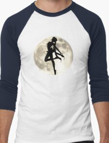 Sailor Moon Silhouette in front of Realistic Moon Men's Baseball ¾ T-Shirt