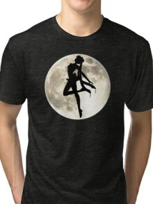 Sailor Moon Silhouette in front of Realistic Moon Tri-blend T-Shirt