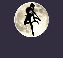Sailor Moon Silhouette in front of Realistic Moon Womens Fitted T-Shirt