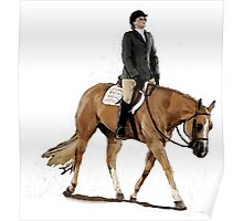 Palomino Quarter Horse Hunter Under Saddle Horse Portrait Poster