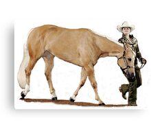 Palomino Quarter Horse Showmanship Portrait Canvas Print