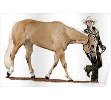 Palomino Quarter Horse Showmanship Portrait Poster