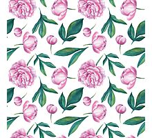Watercolor Peony Pattern Photographic Print