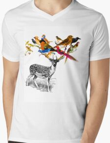 DEER BIRDY Mens V-Neck T-Shirt