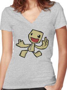 Sackboy Women's Fitted V-Neck T-Shirt