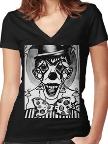 Happy Hell Circus Clown Women's Fitted V-Neck T-Shirt