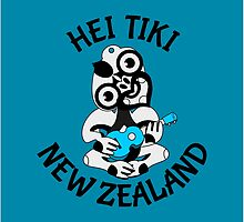 Hei Tiki playing a blue ukulele by piedaydesigns