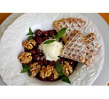 Potatoe Waffles And Cherries with Maple Nuts Photographic Print