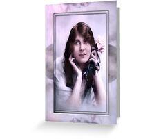 vintage lady blue Greeting Card