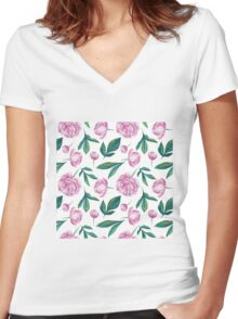 Watercolor Peony Pattern Women's Fitted V-Neck T-Shirt