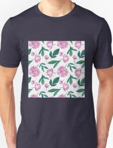 Watercolor Peony Pattern T-Shirt