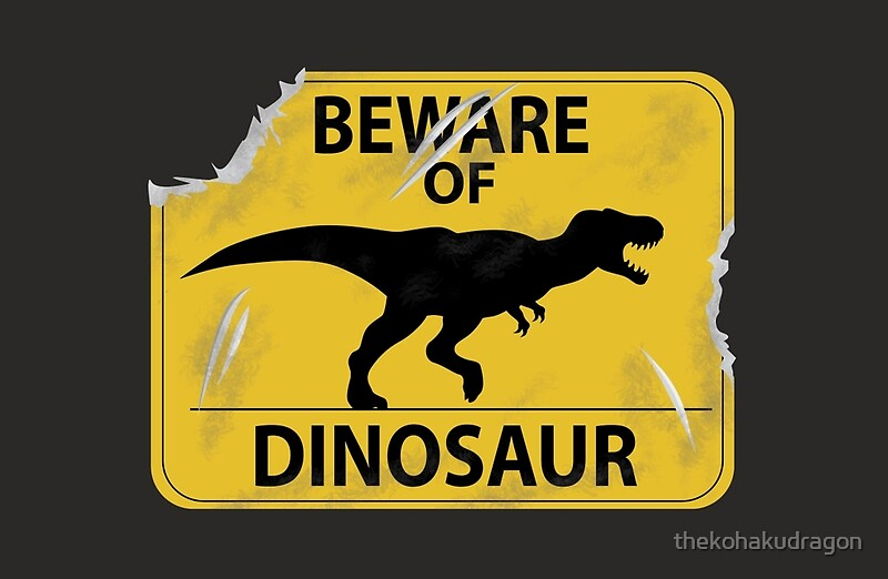 Quot Beware Of Dinosaur Sign Damaged Quot Laptop Skins By