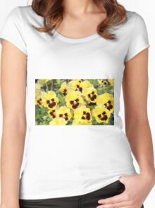 Yellow And Brown Flowers Women's Fitted Scoop T-Shirt