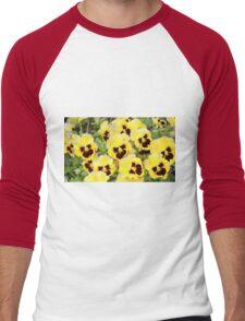 Yellow And Brown Flowers Men's Baseball ¾ T-Shirt