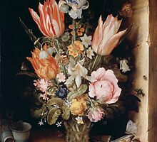 Still Life with Flowers in a Vase (1617) by Christoffel van den Berghe by ericarkitchen